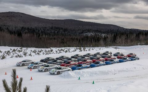 We sample Porsche's Camp4 Canada winter driving experience, which puts studded snow tire-equipped 718 Cayman S, 911 Carrera S and 911 Carrera 4S models to the test at Montreal's Circuit Mecaglisse.