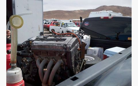 Here's the new engine, loaded up at the 2011 Goin' For Broken 24 Hours of LeMons race in Nevada and on its way to Denver.