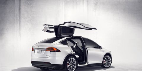 Falcon doors are a signature feature on the new Model X