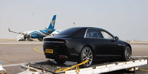 The new Aston Martin Lagonda sedan has landed in Oman for testing.