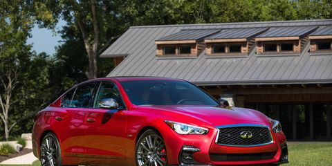 The 2018 Infiniti Q50 Red Sport comes with a twin-turbocharged V6 delivering 400 hp and 350 lb-ft of torque.