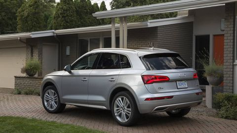 AUDI Q5 -- The refreshed Audi Q5 comes with a 2.0-liter turbocharged I4 that now makes 252 hp and 273 lb-ft of torque. That's hooked to a seven-speed dual-clutch transmission and feeds to the company's slick quattro all-wheel-drive system. This package is good for a 5.9-second sprint to 60 -- over a full second faster than its predecessor -- and is actually faster than the last Audi Q5 with the 3.0-liter V6.