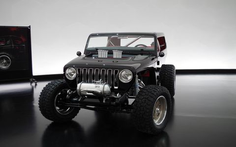 Taking notes out of hot rod and drag racing culture, Jeep turned a Wrangler into a Hemi-powered sand racer.