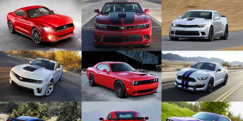 These nine muscle cars represent the Detroit three in the horsepower battles.