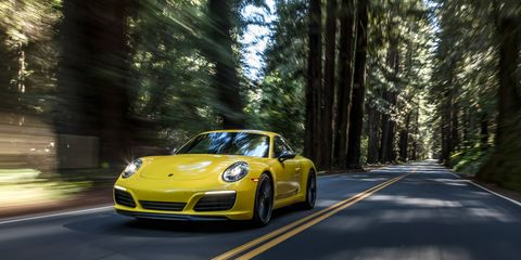 """This is the new 911 Carrera T. Porsche says that with less weight, a manual transmission and a standard mechanical rear differential lock, """"performance and driving pleasure are heightened."""" Indeed they are."""