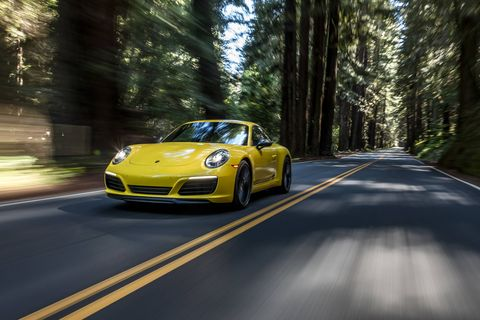 "This is the new 911 Carrera T. Porsche says that with less weight, a manual transmission and a standard mechanical rear differential lock, ""performance and driving pleasure are heightened."" Indeed they are."