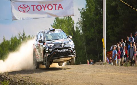 Toyota wants more young male buyers for its RAV4 crossover so it sponsored Ryan Millen in Rally America. Here he is shredding the course in the fwd CUV.