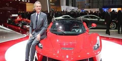 Former Ferrari chairman Luca Cordero di Montezemolo with the hyper-exclusive LaFerrari.