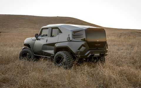 With a 6.4-liter Hemi V8, bulletproof skin and a thermal-imaging camera, the Rezvani is perfect for the end of times.