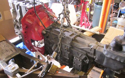 The Corvette ZR-1 6-speed and heavily modified Lakewood bellhousing in place for mount fabrication.