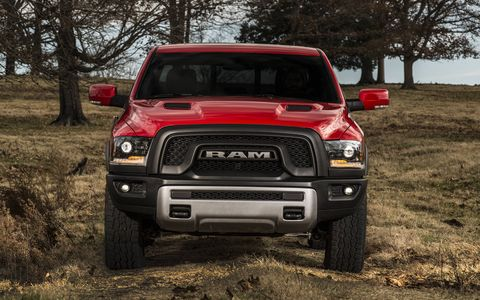 The Ram 1500 Rebel will be available in five colors, including: Granite Crystal Metallic, Bright Silver Metallic, Flame Red, Bright White and Brilliant Black. Both monotone and two-tone paint options are offered.
