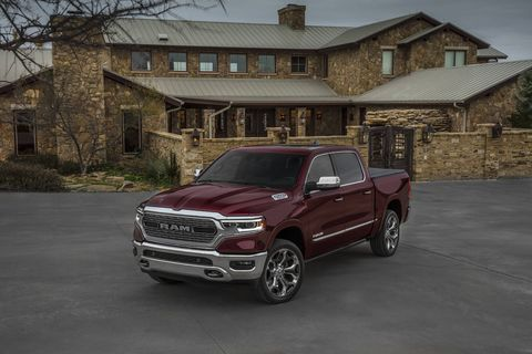 The 2019 Ram 1500 Limited is the all-new full-size truck's loaded range-topper. A 5.7-liter V8 is standard, along with air suspension and lots of leather; tech features like the massive 12-inch touchscreen are available.