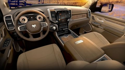 The 2019 Ram 1500 Longhorn gets wood and leather trim along with embossed logos everywhere.