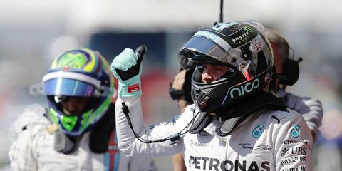 Nico Rosberg will start on the pole alongside Mercedes F1 teammate Lewis Hamilton on Sunday at Circuit of the Americas.