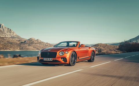 The 2019 Bentley Continental GT convertible in action