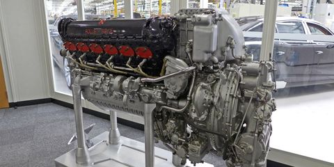 Outside Bentley's engine assembly hall sits this Rolls-Royce Merlin aircraft engine -- the Crewe plant's raison d'être.