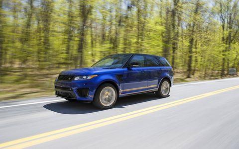 The 2015 Range Rover Sport SVR comes in several colors, including Estoril Blue.