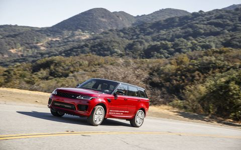 With a 2.0 liter turbocharged I4 and 85kW electric motor, the 2019 Range Rover Sport P400e produces a total of 398 hp and 472 lb-ft of torque.