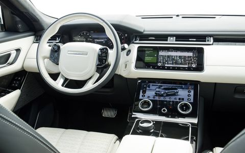 The 2018 Land Rover Range Rover Velar has 24 cubic feet of space in the trunk, 61 cubic feet if you fold the seats down.