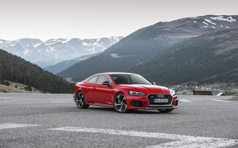 This is the second-generation RS5 and under the aluminum hood is a 2.9-liter six-cylinder engine with twin turbochargers (each feeding one cylinder bank) nestled deep inside the V. It generates a solid 444 hp from 5,700 rpm until 6,700 rpm.