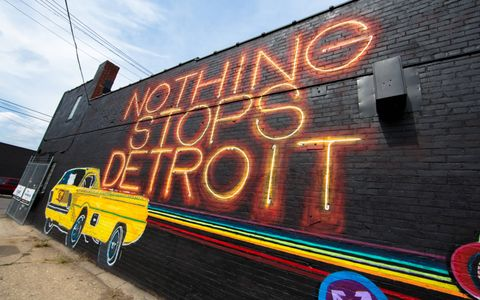 "Ryan Doyle's ""Nothing Stops Detroit"" mural in Eastern Market."