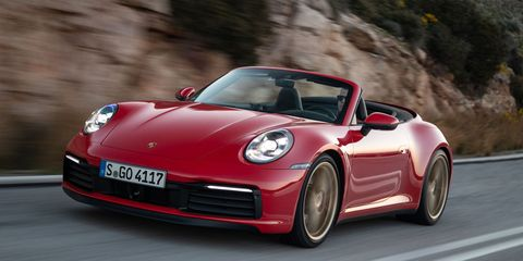 The 2020 Porsche 911 Carrera Cabriolet features a twin-turbo 3.0-liter flat-six engine. (It's actually 2,981 cubic centimeters, but who's counting?)