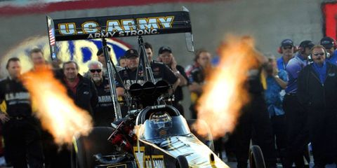 Tony Schumacher had a great run Friday night, taking the top qualifying spot in the NHRA Top Fuel division at the Gatornationals.