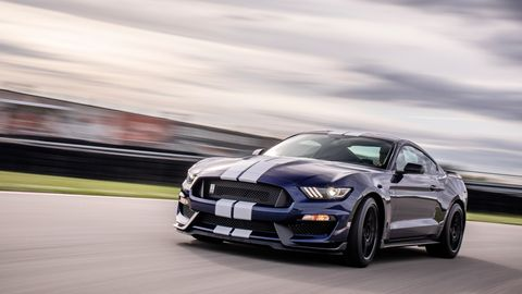 The Ford Mustang Shelby GT350 sends 526 hp through a six-speed manual transmission.