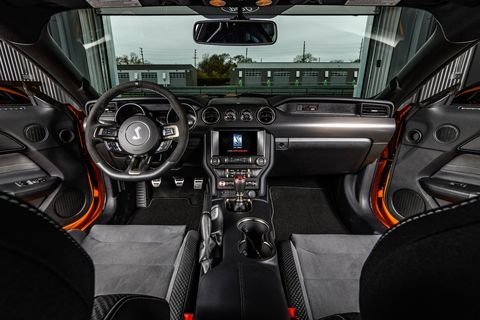 The 2019 Ford Mustang Shelby GT350 comes with snug Recaro bucket seats and standard dual-zone climate control.