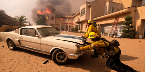 Firefighters saved this Shelby Mustang GT 350