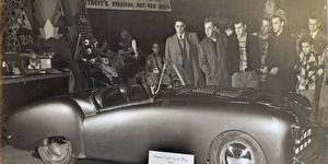 Farago's Fiat draws a crowd at a Detroit hot rod and custom show. Exact year and location unknown.
