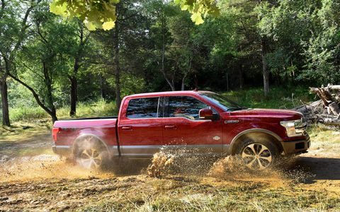 2018 Ford F-150 engine choices include a 265-lb-ft 3.3-liter V6, a 400-lb-ft 2.7-liter EcoBoost V6, a 400-lb-ft 5.0-liter V8 and a 470-lb-ft 3.5-liter EcoBoost V6.