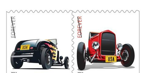 These are the two USPS stamps featuring hot rods. You can see the rods at the Petersen Wednesday.