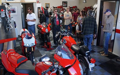 Guy Webster photographed more famous people and famous rock bands than almost any photographer on Earth. He put his profits into motorcycles - mostly Ducatis. On Sunday he invited the Norton Motorcycle Club of SoCal to stop by and have a look around. Thanks, Guy!