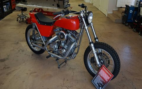Bator International in Ojai, CA buys and sells classic motorcycles and makes its own Trackmaster Miler dirt tracker. Glenn Bator opened up the whole place on Sunday for visiting bikers from the Norton Club.