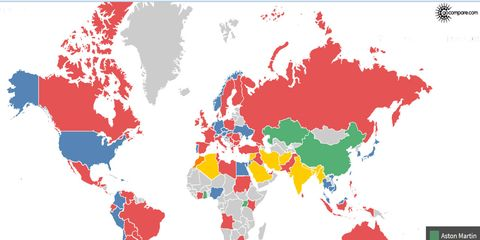 Using Facebook date we can find out which supercar brand is the most popular in each country.