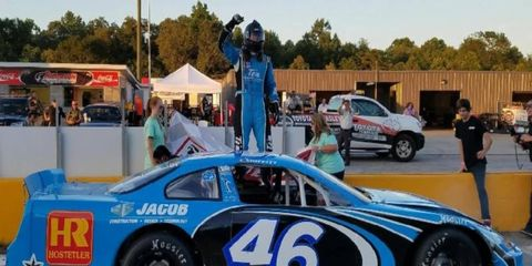 Thad Moffitt celebrates his first stock car win on Aug. 13 in South Carolina.