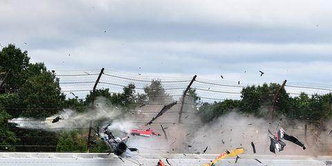 IndyCar Series rookie Robert Wickens survived a frightening crash at Pocono Raceway Sunday