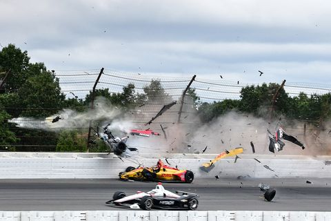 IndyCar Series rookie Robert Wickens survived a frightening crash at Pocono Raceway Sunday