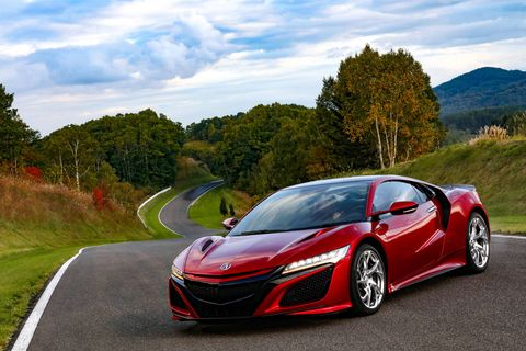 The 2019 Acura NSX stands out in Red at the Takasu Proving Grounds in Northern Japan