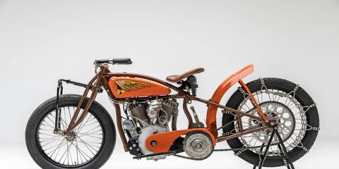 Hill climbs were a big deal in the '20s and '30s, and both Harley and Indian competed. Here is a 1925 Indian Altoona Hillcliber.