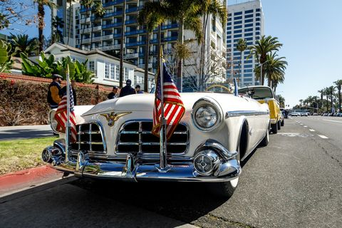 The Petersen Automotive Museum in Los Angeles celebrated Presidents' Day with a parade through Los Angeles, lead by Eisenhower's Chrysler Imperial open-topped limo. Hail to the chiefs!