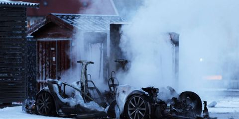 No one was hurt when this Tesla Model S caught fire at a Norwegian charging station.