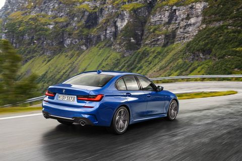 The 2019 BMW 3-Series offers either a 255 hp I4 or a 382-hp I6. Both are turbocharged with an eight-speed automatic.
