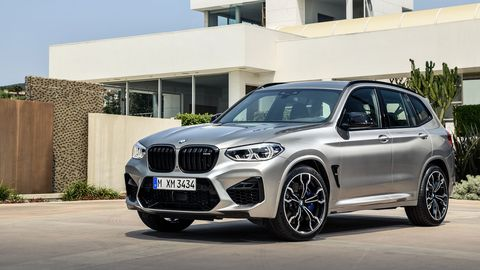 "The 2020 BMW X3 M comes with a twin-turbocharged I6 making 473 hp in ""base"" models, 503 hp in Competition models."