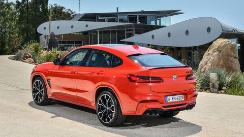 The 2020 BMW X4 M gets the same power and torque as the X3 M, but about 30 percent less trunk space.