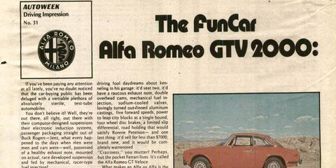 The Alfetta coupe would transition Alfa into '70s wedge-shaped cars. This is the last year of the Bertone-designed GTV 2000, and we are sad to see it go.