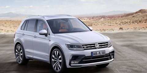 The 2016 Tiguan is pictured above in R-Line trim, as a European model.