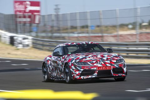 The new Toyota Supra, code-named A90, testing at the Jarama racetrack in Spain.