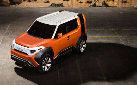 Toyota revealed the FT-4X concept at the 2017 New York auto show. Roughly the same size as the C-HR, this crossover SUV is ruggedized and packed with lots of outdoorsy details, like removable lights, water bottles and heaters that swivel to dry wet gear.